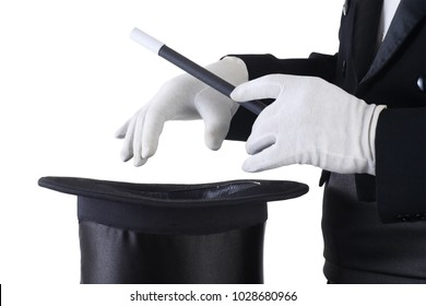 Magician's hands with a hat in white gloves isolated