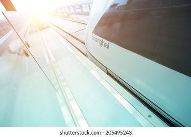 Maglev train arriving shanghai station,china