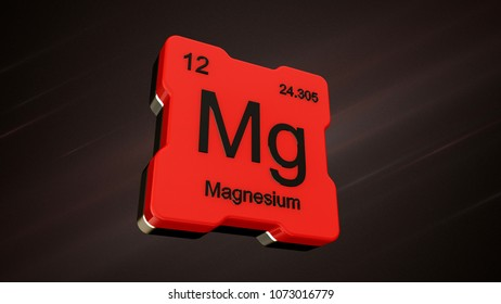 Magnesium element number 12 from the periodic table on futuristic red icon and nice lens flare on noisy dark background - 3D render