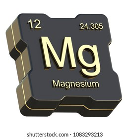 Magnesium element symbol from periodic table on futuristic black icon isolated on white background 3D render