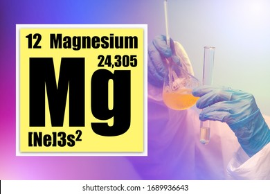 Magnesium research in the laboratory. Magnesium element logo from the periodic table. Laboratory assistant mixes the liquid in the flask. Characteristic cell MG. MG in the conversion table.