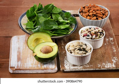 Magnesium Rich Foods on a wooden table. Healthy eating. Top view