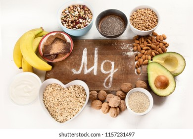 Magnesium rich foods. Top view. Healthy eating