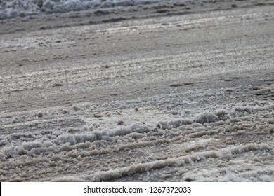 Magnesium and Sodium Chlorides, sand on the winter road