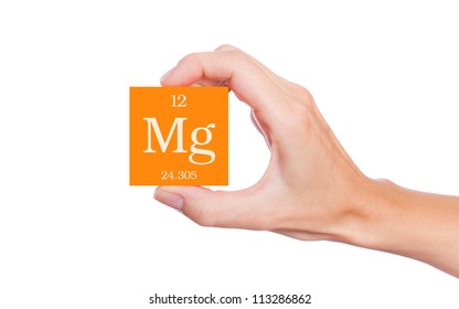 Magnesium symbol handheld isolated on white background