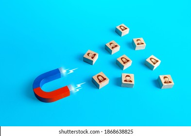 Magnet attracts people. Recruiting new workers. Poaching employees to more favorable conditions. Search for specialists and professionals. Business team building. Hiring. Collection of personal data - Shutterstock ID 1868638825
