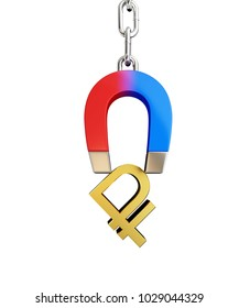 Magnet chain links golden ruble sign  on a white background 3D illustration, 3D rendering
