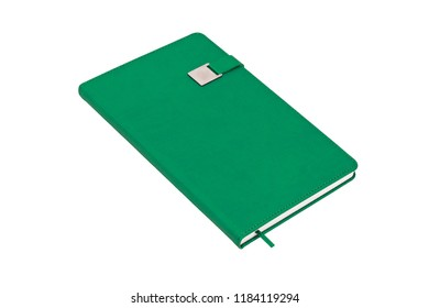 Magnet closure with the metal plate, green hard cover pocket leather notebook journal isolated on white background.