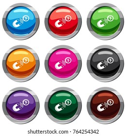 Magnet with coin set icon isolated on white. 9 icon collection  illustration