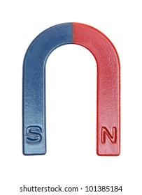Magnet a horseshoe isolated on a white background.