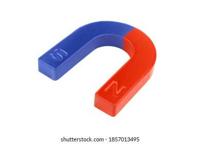 Magnet isolated on white background. Horseshoe or U shape magnet close up.