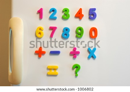 Magnet numbers on fridge door