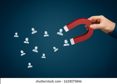 Magnet for your customers, clients or human resources. Marketing and management concepts. Hand of businessman with magnet attract symbols of people.