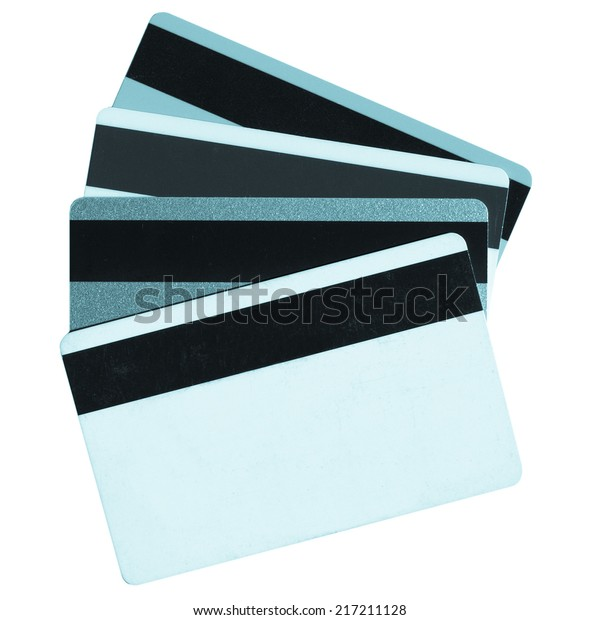 Magnetic cards isolated over a white background - cool cyanotype