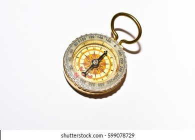 Magnetic compass. Navigation device on a white background.