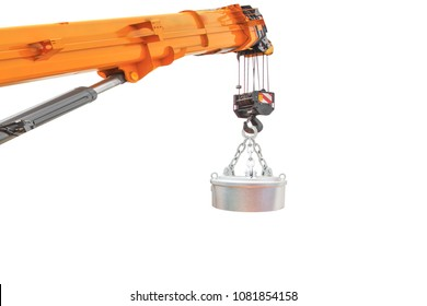 Magnetic crane for handling scrap and steel isolated on white background with clipping path