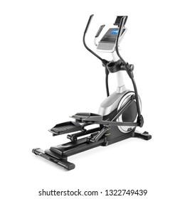 Magnetic Elliptical Trainer Isolated on White Background. Health & Fitness Gym Machine. Cardio Workout Equipment Side View. Weights Strength Training. Modern Cross Trainer. Stationary Exercise Machine