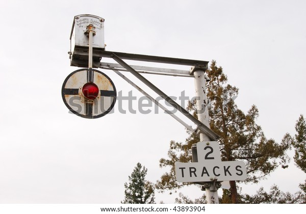 Magnetic Flagman Old Railroad Crossing Signal Stock Photo