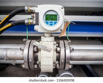 Magnetic flow transmitter in power plant.