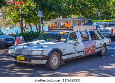MAGNETIC ISLAND, QUEENSLAND, AUSTRALIA - SEPTEMBER 1, 2018: 1982 ford Fairlane stretch limousine taking part in the 2018 NT Variety Bash from Tennant Creek to Townsville.