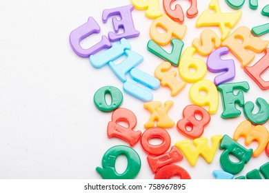 magnetic letters at white
