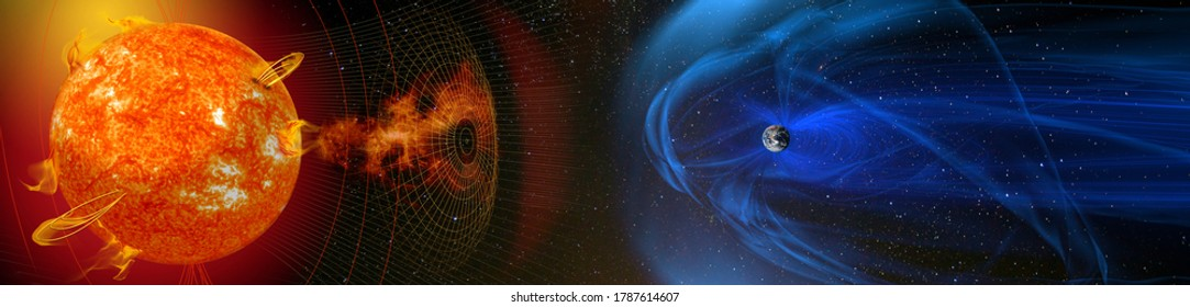 Magnetic lines of force surrounding Earth known as the magnetosphere deflecting solar wind and radiation from the Sun. Elements of this image furnished by NASA.