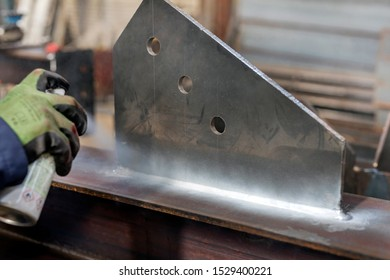 Magnetic particle (MPI) test to the fillet weld. This inspection is a non-destructive testing (NDT) process for detecting surface and shallow subsurface discontinuities in ferromagnetic material.