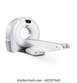 Magnetic Resonance Imaging MRI Machine Isolated on White Background. Medical and Science Equipment. Medical MRI Scanner