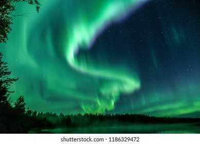 Magnetic storm at River Simo, Lapland Finland