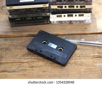 Magnetic tape cassette for audio music recording vintage