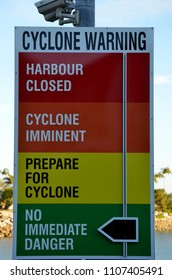 Magnetic, Townsville, Queensland, Australia, June 4th 2018, Cyclone warning sign