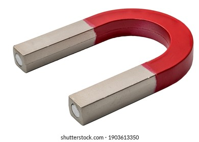 Magnetism, science tools and magnetic attraction concept with close up photograph on red and silver magnet in shape of horseshoe isolated on white background with clipping path cutout