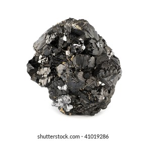 Magnetite mineral isolated on white background