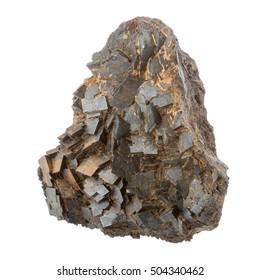 Magnetite rough specimen on white background