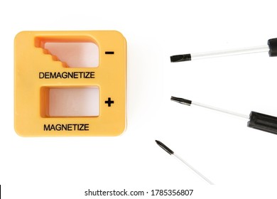 Magnetizer and demagnetizer for screwdrivers on white background