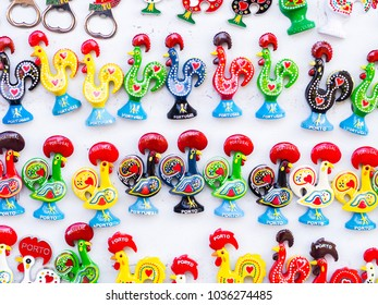 Magnets shaped as the Galo de Barcelos (Barcelos Rooster), the symbol of Portugal, sold in Porto.