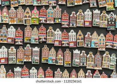 Magnets of traditional old buildings in Amsterdam, Netherlands