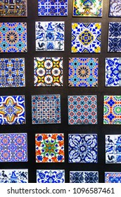 Magnets of typical portuguese tiles for sale in a souvenir shop