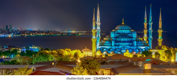 Magnificence of Blue Mosque at night, aerial view of Istanbul, Turkey.