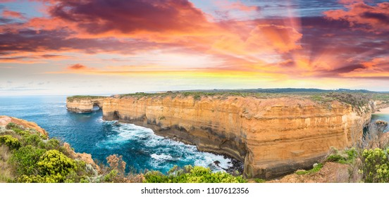 Magnificence of Great Ocean Road coastline at dusk, Australia.