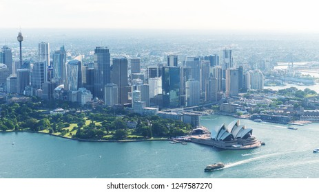 Magnificence of Sydney skyline, aerial view.