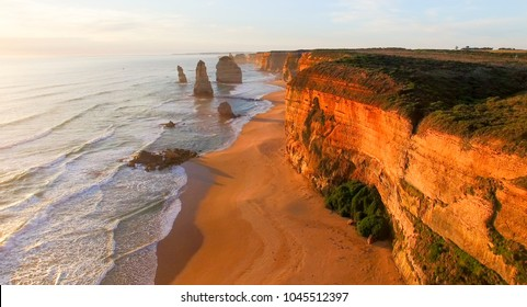 Magnificence of Twelve Apostles, Australia. Aerial view at dusk.