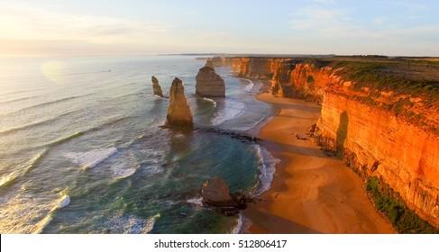 Magnificence of Twelve Apostles, Australia. Aerial view at dusk.