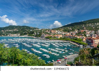 Magnificent aerial view of the marina of Lerici, La Spezia, Liguria, Italy