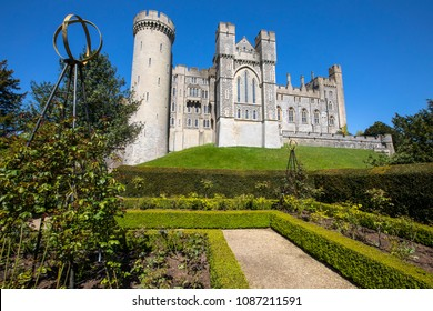The magnificent Arundel Castle, viewed from the beautiful gardens within the castle grounds, in Arundel, West Sussex, UK.