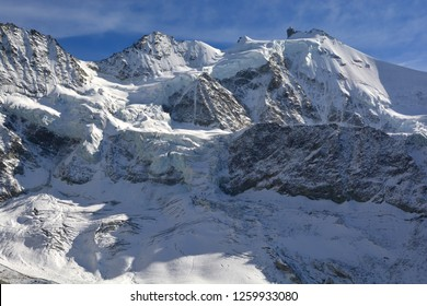 Magnificent assembly of peaks. Left to Right : Schalihorn, Pointes du Moming and Zinalrothorn in the Val d'Anniviers in the Southern Swiss Alps