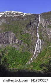 The magnificent Bondhusdalen valley with Bondhusvatnet lake and waterfall. Sundal, a hamlet on the shore of the Maurangerfjord. Folgefonna glacier, Folgefonna National Park.