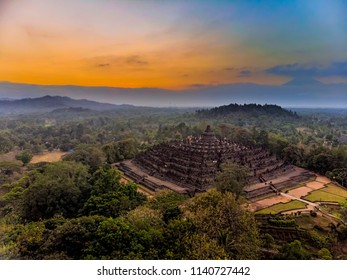 Magnificent Borobudur temple aerial shot. Java, Indonesia