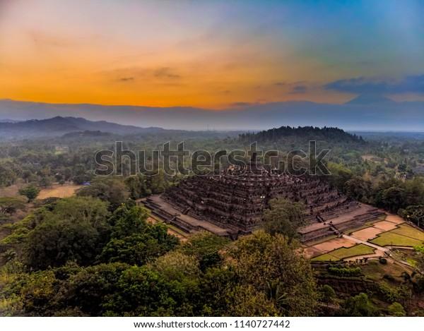 Magnificent Borobudur temple aerial shot. Java, Indonesia