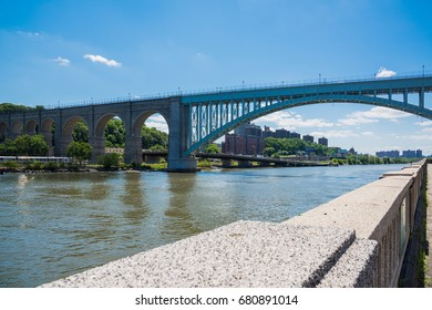 Magnificent  bridges are over the Harlem River in New York / The High Bridge of the Harlem River ,New York / We can see many bridges along the Harlem River in New York City.